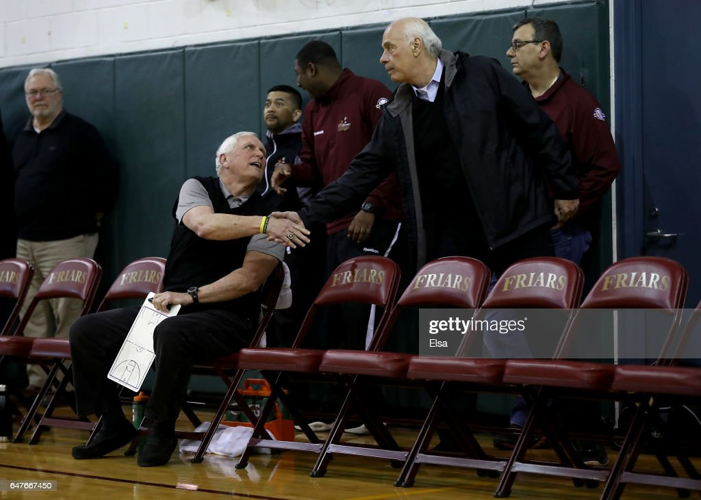 A fan greets head coach Bob Hurley of the St. Anthony Friars before the game against the Monclair Immaculate Lions during the 2017 NJSIAA Boy's Basketball North B Tournament Quarterfinals at C.E.R.C. on March 3, 2017 in Jersey City, New Jersey.The St. Anthony Friars defeated the Monclair Immaculate Lions 66-52.