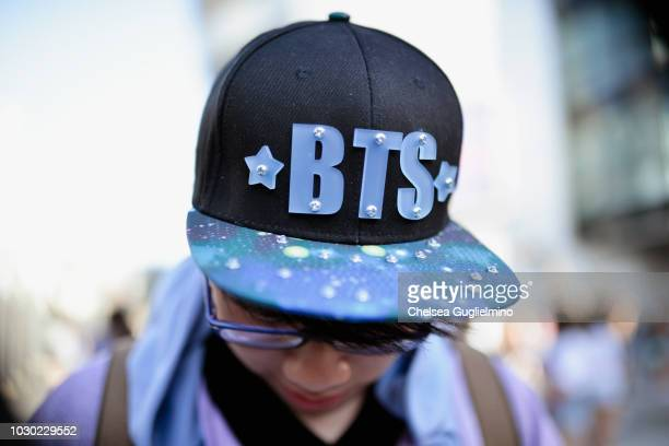 A fan hat detail awaits the BTS concert as part of the Love Yourself North American Tour at Staples Center on September 9 2018 in Los Angeles...