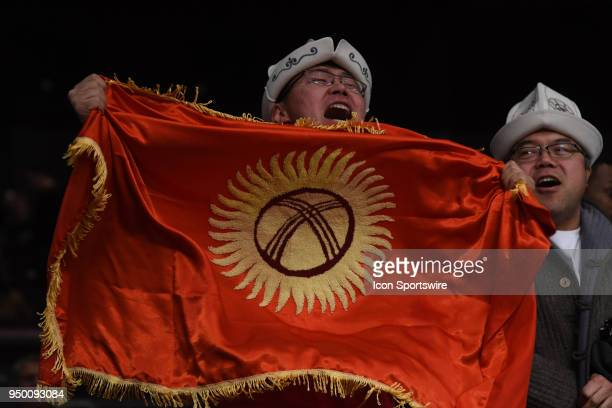 Fan hold Flag of Kyrgyzstan during the event Antonina Shevchenko takes on Claire Baxter in a Womens Super Lightweight Title bout on April 21 2018 at...