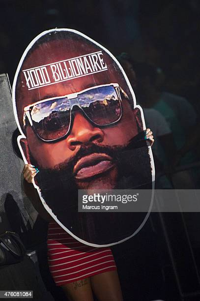 Fan holding up Rick Ross poster board during Atlanta Greek Picnic weekendDay 1 at Morehouse College Forbes Arena on June 5 2015 in Atlanta Georgia