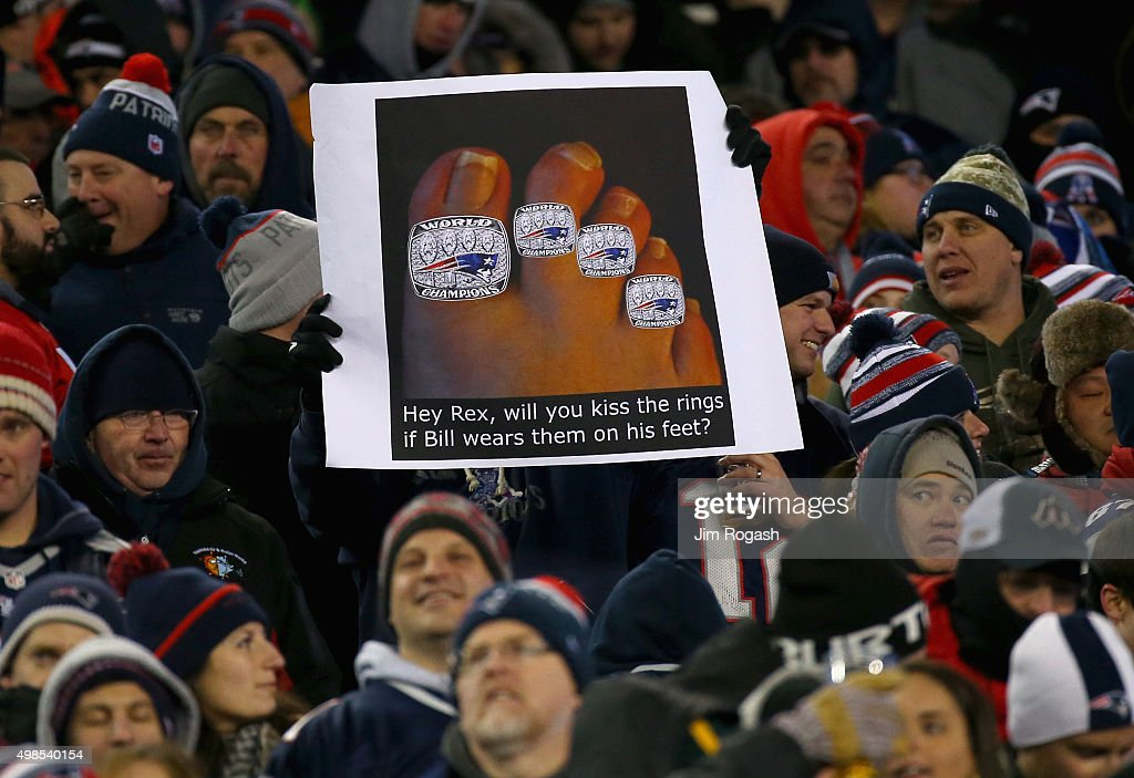A fan holds a sign during a game between the New England Patriots and the Buffalo Bills at Gillette Stadium on November 23, 2015 in Foxboro, Massachusetts.