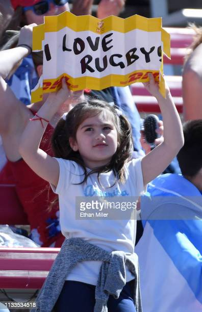 A fan holds a sign during a match between Spain and Kenya during the USA Sevens Rugby tournament at Sam Boyd Stadium on March 3 2019 in Las Vegas...
