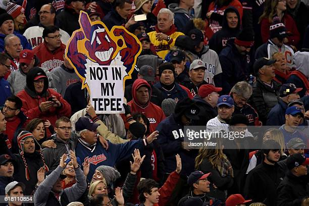 A fan holds a sign during Game One of the 2016 World Series between the Chicago Cubs and the Cleveland Indians at Progressive Field on October 25...