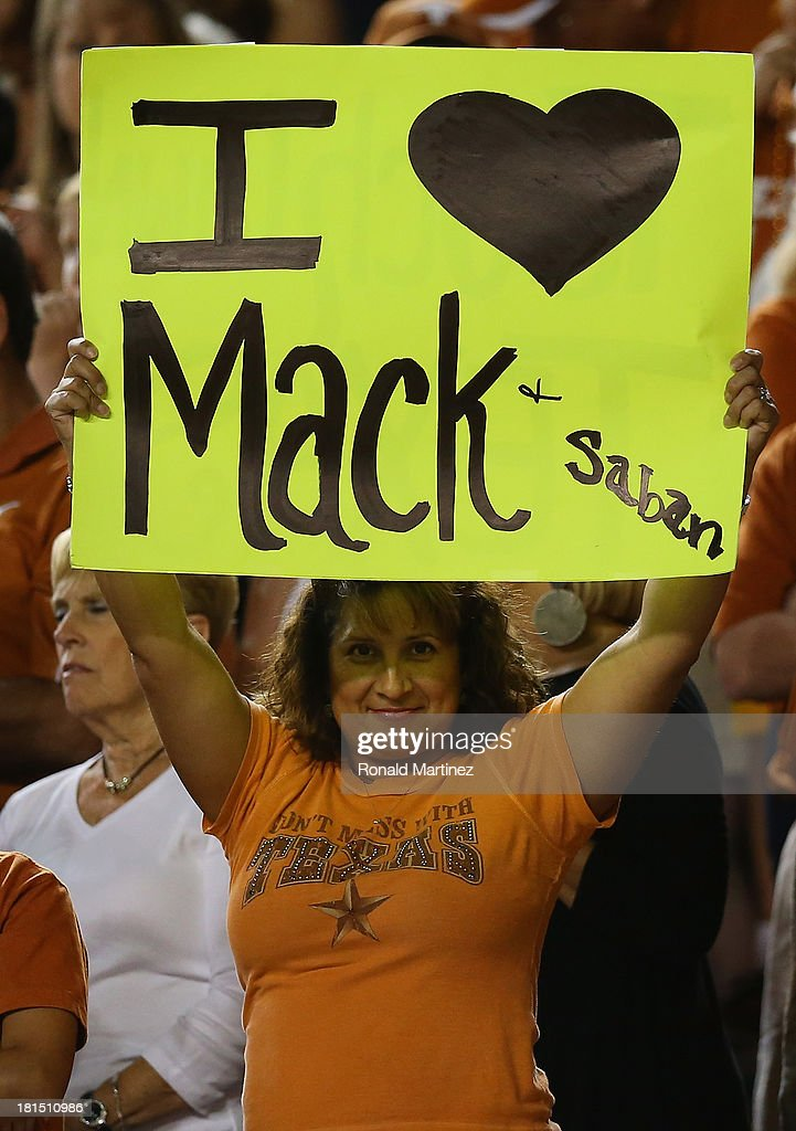 A fan holds a sign during play between the Texas Longhorns and the Kansas State Wildcats at Darrell K Royal-Texas Memorial Stadium on September 21, 2013 in Austin, Texas.