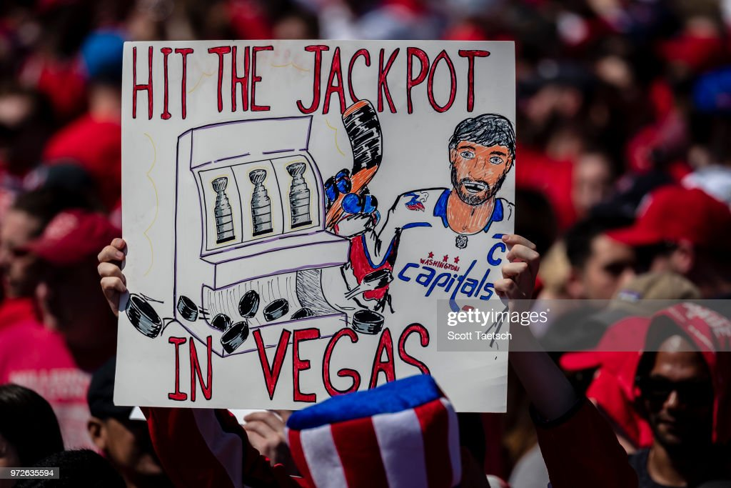 A fan holds a sign during the Washington Capitals Victory Parade and Rally on June 12, 2018 in Washington, DC.
