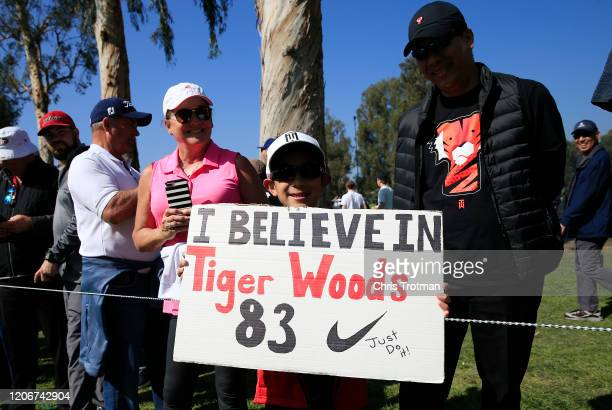 A fan holds a sign for Tiger Woods during the final round of the Genesis Invitational on February 16 2020 in Pacific Palisades California