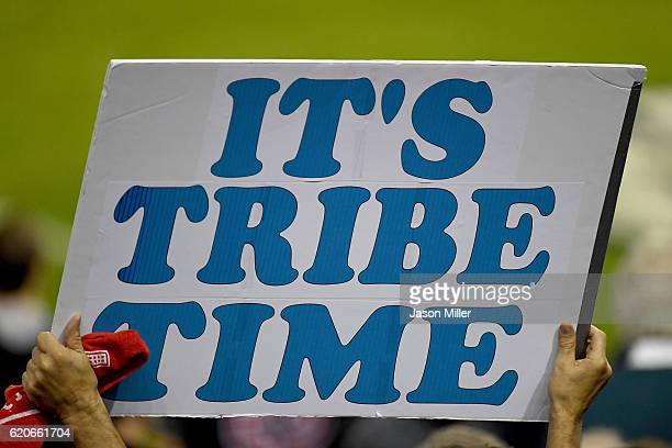 A fan holds a sign prior to Game Seven of the 2016 World Series between the Chicago Cubs and the Cleveland Indians at Progressive Field on November 2...
