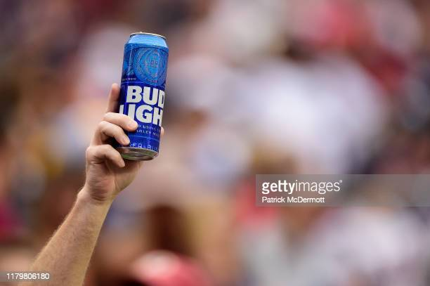 Fan holds up a can of Bud Light during a game between the New England Patriots and Washington Redskins at FedExField on October 6, 2019 in Landover,...