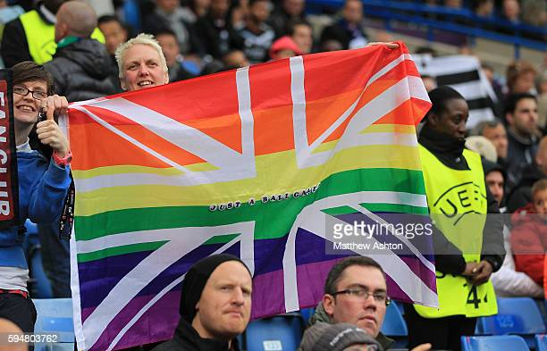 A fan holds up a rainbow flag saying just a ball game