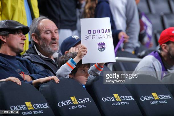 A fan holds up a sign cheering for Bogdan Bogdanovic of the Sacramento Kings during the game against the New Orleans Pelicans on March 7 2018 at...