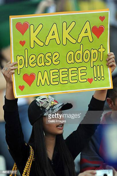 A fan holds up a sign during the FIFA Confederations Cup match between Brazil and USA at the Loftus Versveld Stadium on June 18 2009 in Tshwane South...