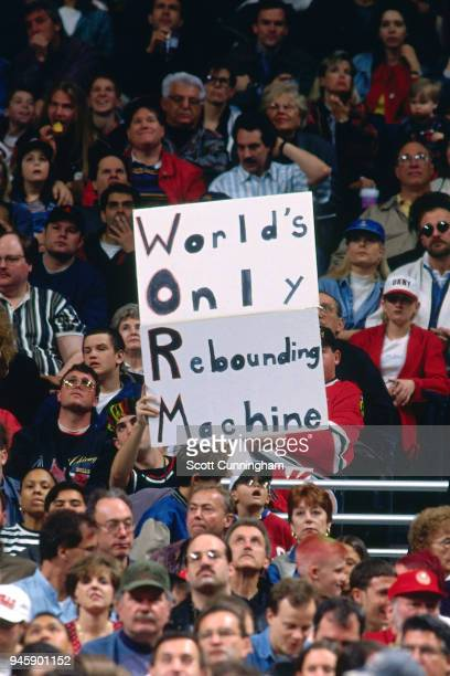 A fan holds up a sign during the game between the Indiana Pacers and the Chicago Bulls on April 20 1996 at the United Center in Chicago Illiniois...