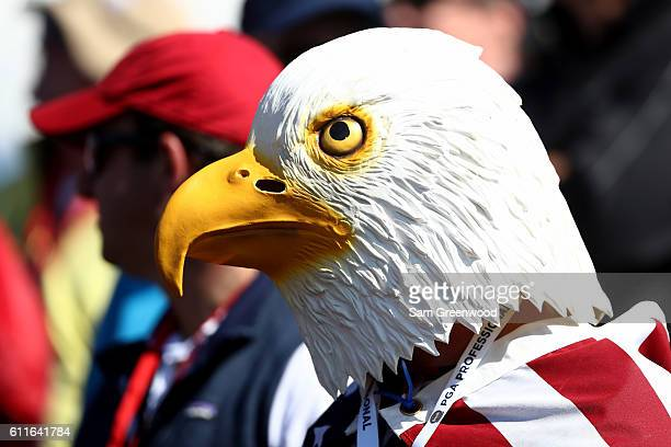 A fan in an eagle mask looks on during afternoon fourball matches of the 2016 Ryder Cup at Hazeltine National Golf Club on September 30 2016 in...