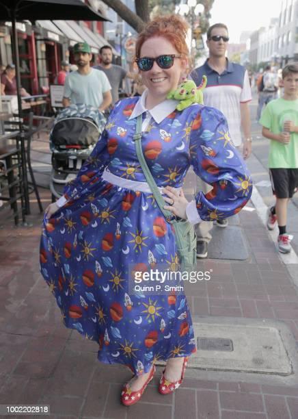 A fan in cosplay attends 2018 ComicCon International on July 19 2018 in San Diego California