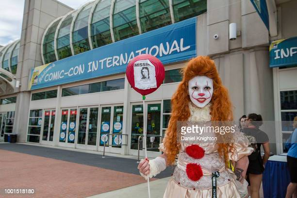 Fan in cosplay waits for doors to open on Preview Night at Comic-Con International at San Diego Convention Center on July 18, 2018 in San Diego,...