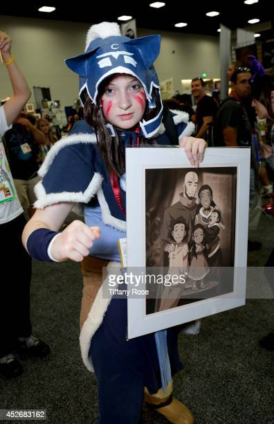 A fan in costume attends the Legend of Korra signing at the 2014 San Diego ComicCon International Day 3 on July 25 2014 in San Diego California