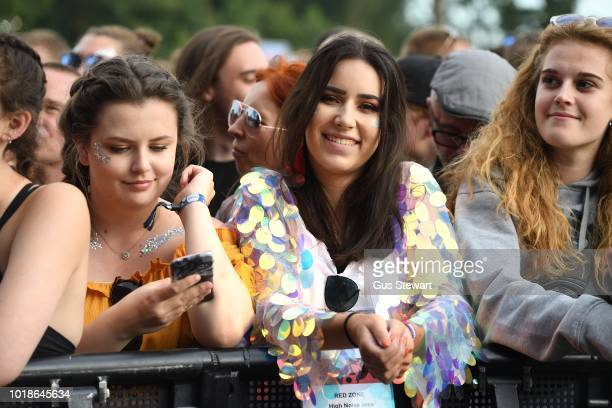 Fan in sparkly jacket watching Plan B at RiZE Festival on August 17 2018 in Chelmsford United Kingdom