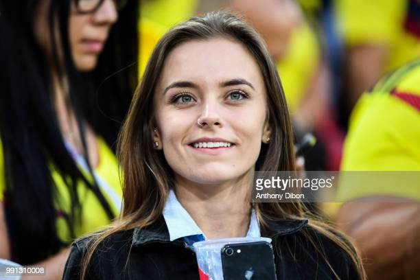 A fan in the stands during the 2018 FIFA World Cup Russia Round of 16 match between Colombia and England at Spartak Stadium on July 3 2018 in Moscow...