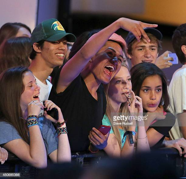 TORONTO JUNE 15 A fan is excited by the stage show during MMVA 2014 awards show featuring some of the countries best talent on June 15 2014