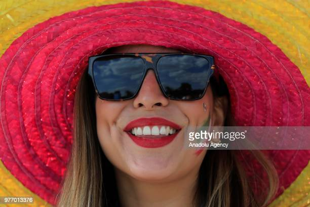 A fan is seen before the 2018 FIFA World Cup Russia Group F match between Germany and Mexico at the Luzhniki Stadium Moscow in Moscow Russia on June...