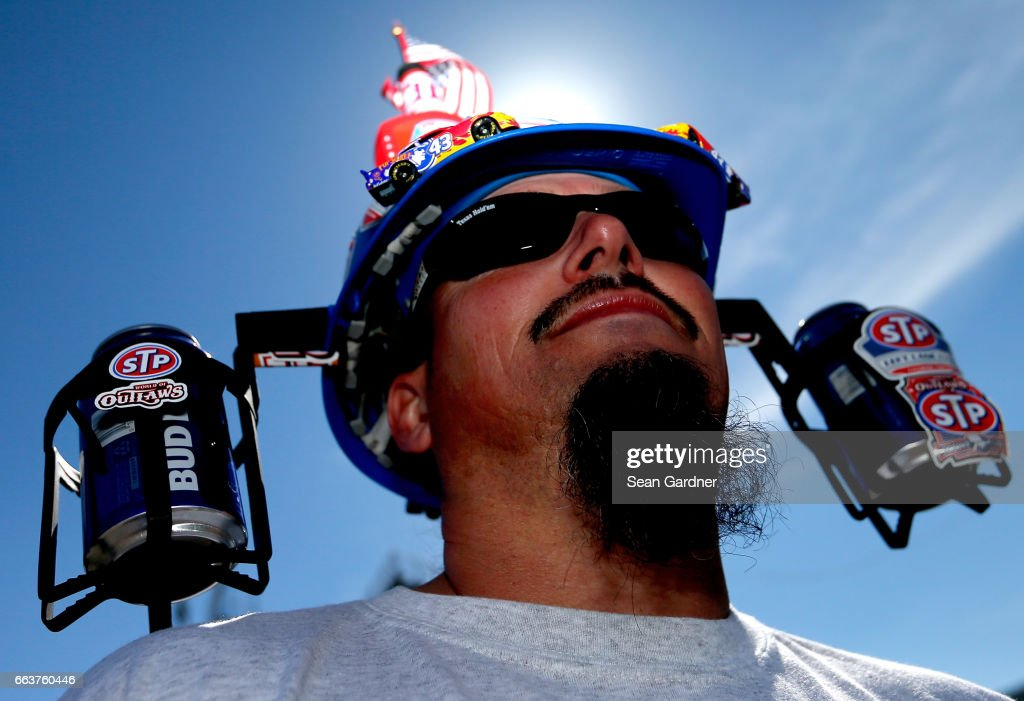 A fan is seen before the Monster Energy NASCAR Cup Series STP 500 at Martinsville Speedway on April 2, 2017 in Martinsville, Virginia.