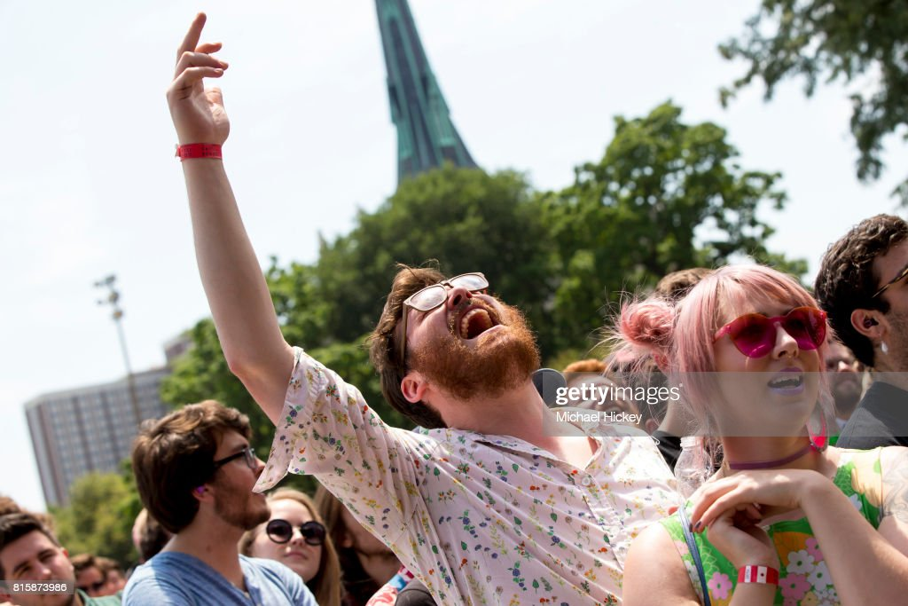 A fan is seen during Pitchfor performs at the Pitchfork Festival at Union Park on July 15, 2017 in Chicago, Illinois.