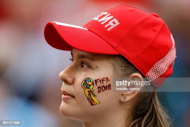 A fan is seen during the 2018 FIFA World Cup Russia Group C match between Denmark and France at the Luzhniki Stadium Moscow in Moscow Russia on June...