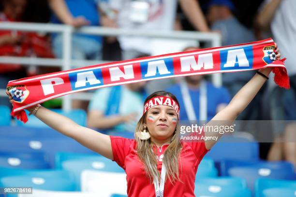 A fan is seen during the 2018 FIFA World Cup Russia Group G match between England and Panama at the Nizhny Novgorod Stadium in Nizhny Novgorod Russia...