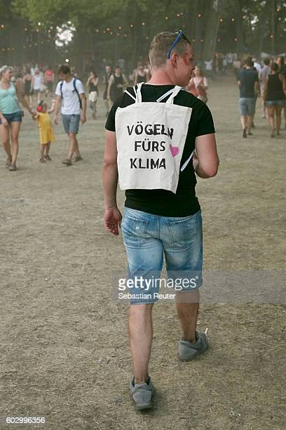 A fan is seen during the Lollapalooza Berlin music festival at Treptower Park on September 11 2016 in Berlin Germany