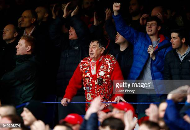 A fan is seen in the stands during the Premier League match between Everton and Liverpool at Goodison Park on April 7 2018 in Liverpool England