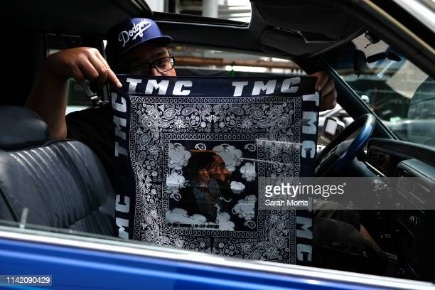A fan is seen outside of Staples Center during hip hop artist and community activist Nipsey Hussle's Celebration of Life ceremony on April 11 2019 in...