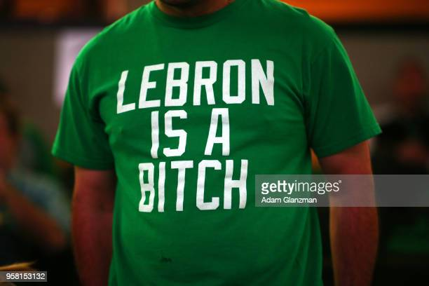 A fan is seen with a tshirt prior to Game One of the Eastern Conference Finals between the Boston Celtics and the Cleveland Cavaliers of the 2018 NBA...
