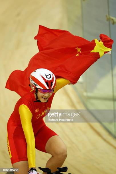 Fan Jiang of China wins the gold medal in the Women's Individual Sprint Final at the Guangzhou Velodrome during day two of the 16th Asian Games...