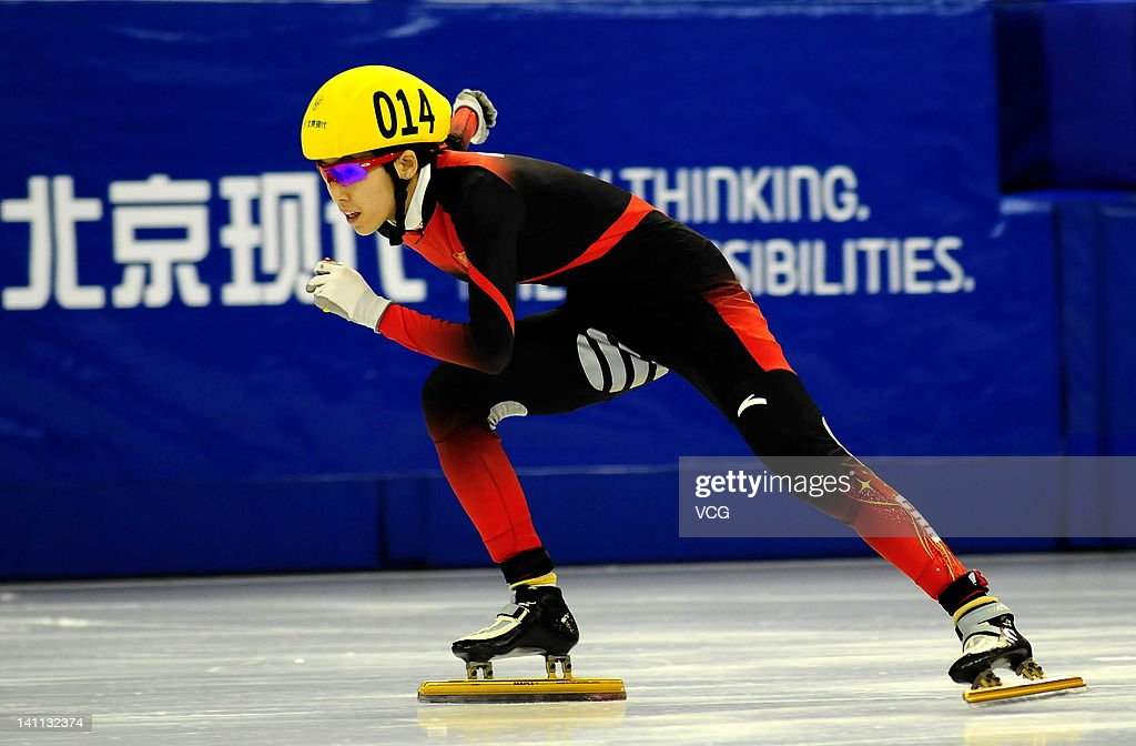 Fan Kexin of China competes in the Women's 500m final during day two of the ISU World Short Track Speed Skating Championship at the Oriental Sports Center on March 10, 2012 in Shanghai, China.