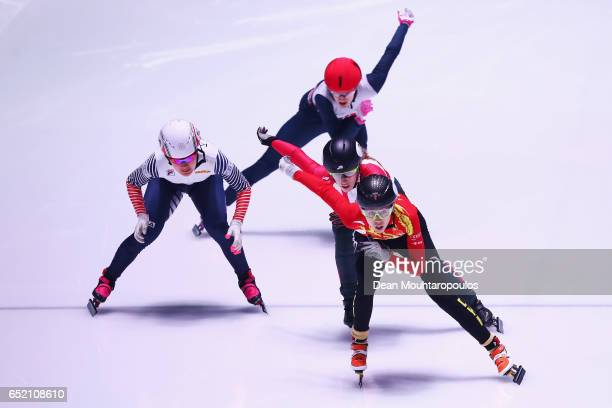 Fan Kexin of China Marianne StGelais of Canada Kim Jiyoo of South Korea and Elise Christie of Great Britain in the 500m Ladies race final at ISU...