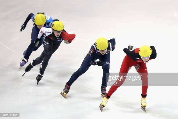 Fan Kexin of China Park SeungHi of Korea Marianne StGelais of Canada and Sofia Prosvirnova of Russia compete in the Women's 500m Final during day...