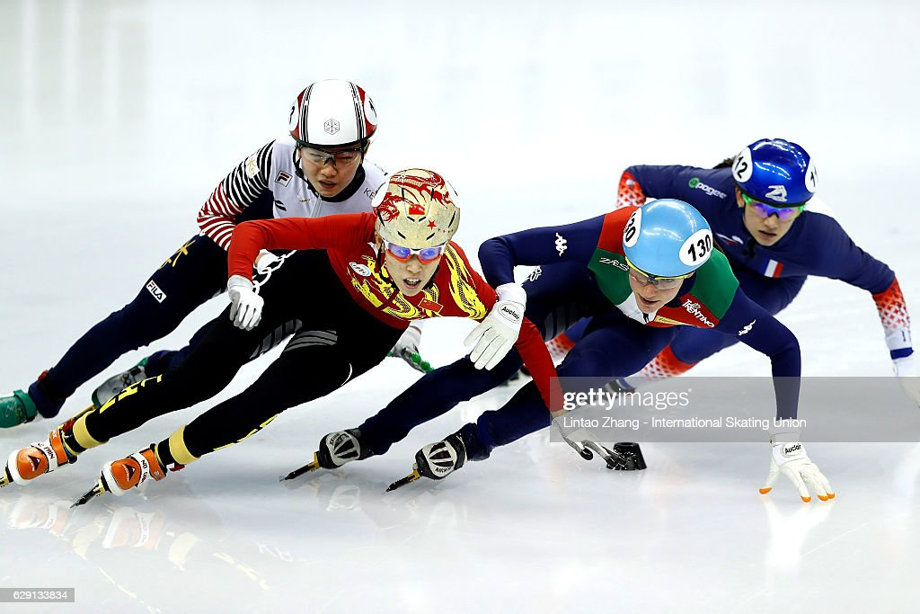 Fan Keyin of China, Martina Valcepina of Italy, Shim Suk-hee of South Korea and Selma Poutsma of France competes in the Women's 500m final B at the ISU World Cup Short Track speed skating event at the Oriental Sports Center on December 11, 2016 in Shanghai, China.