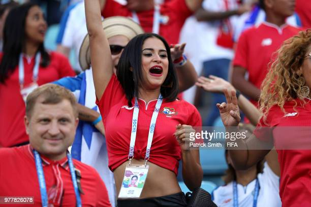 A fan looks of Panama on ahead of the 2018 FIFA World Cup Russia group G match between Belgium and Panama at Fisht Stadium on June 18 2018 in Sochi...
