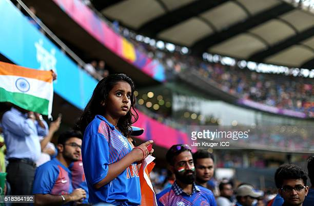 A fan looks on ahead of the ICC World Twenty20 India 2016 SemiFinal match between West Indies and India at Wankhede Stadium on March 31 2016 in...