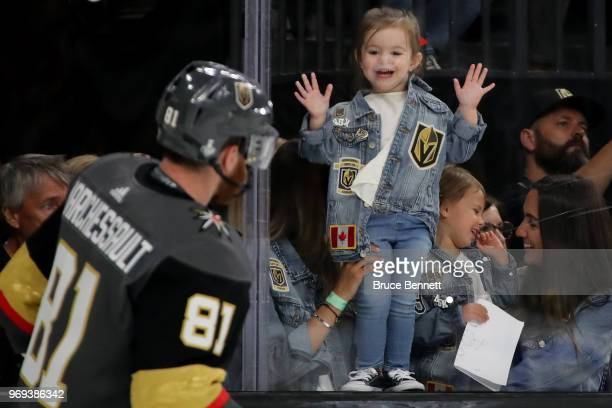 A fan looks on as Jonathan Marchessault of the Vegas Golden Knights skates in warmups prior to the game against the Washington Capitals in Game Five...
