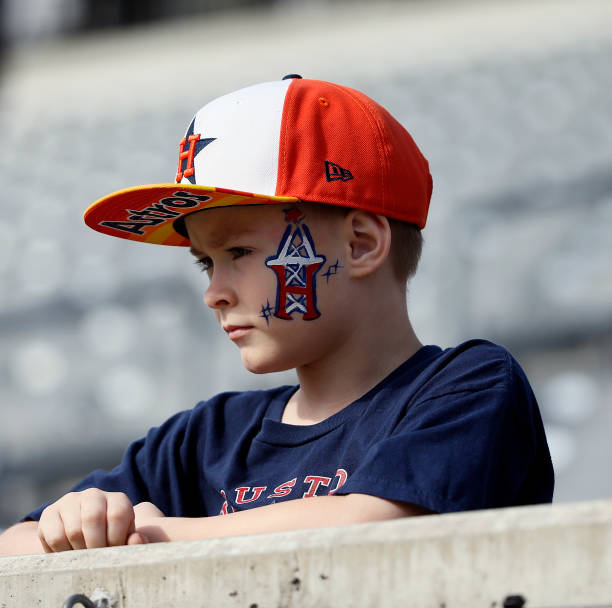 A fan looks on before the LA Wildcats play the Houston Roughnecks at TDECU Stadium on February 08 2020 in Houston Texas