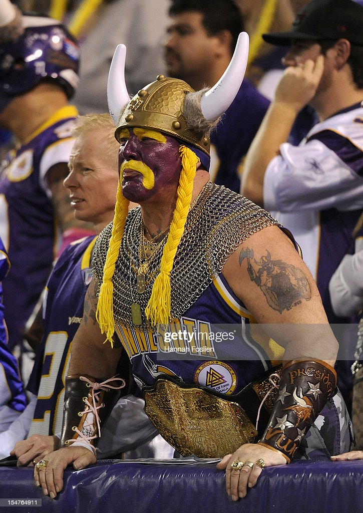 A fan looks on during the fourth quarter of the game between the Minnesota Vikings and the Tampa Bay Buccaneers on October 25, 2012 at Mall of America Field at the Hubert H. Humphrey Metrodome in Minneapolis, Minnesota. The Buccaneers defeated the Vikings 36-17.