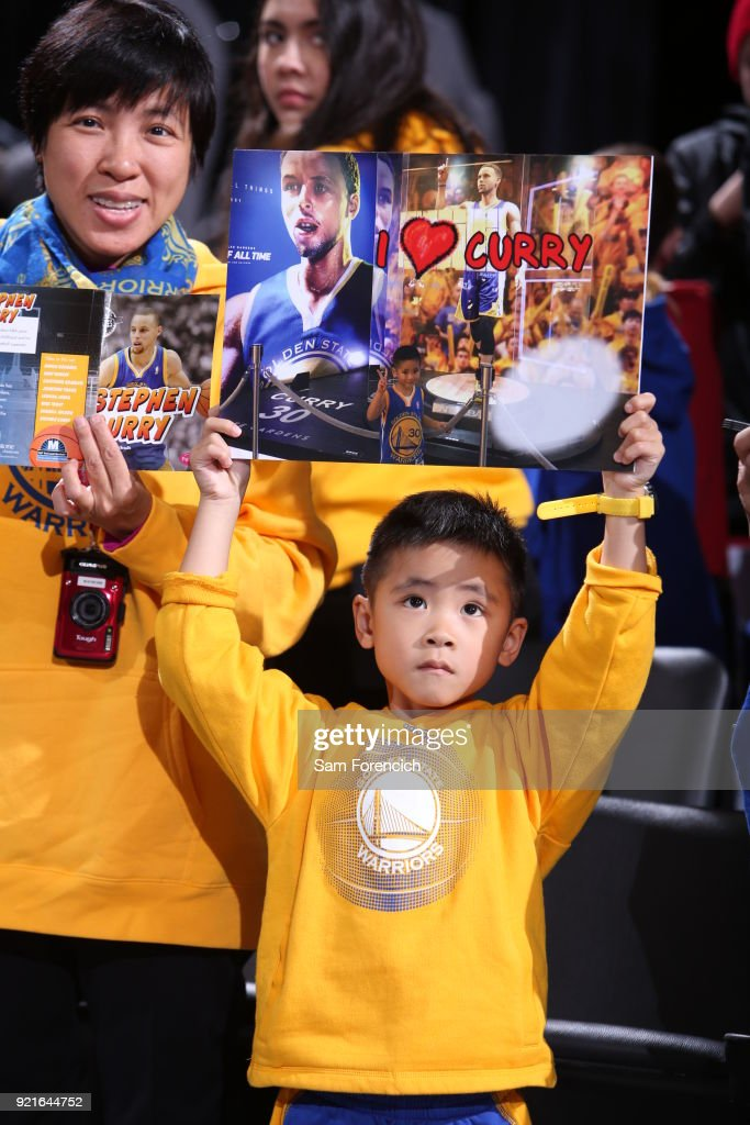 A fan looks on during the game between the Golden State Warriors and the Portland Trail Blazers on February 14, 2018 at the Moda Center Arena in Portland, Oregon.
