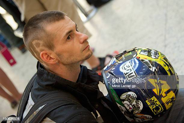 Fan looks on during the preevent QA and autograph session in Vankovka Mall in Brno during the MotoGp of the Czech Republic Republic at Brno Circuit...