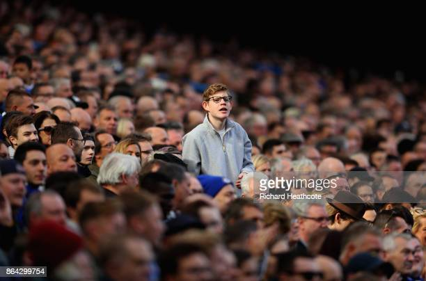 A fan looks on during the Premier League match between Chelsea and Watford at Stamford Bridge on October 21 2017 in London England