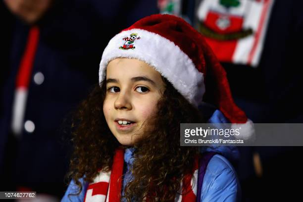 A fan looks on during the Premier League match between Huddersfield Town and Southampton FC at John Smith's Stadium on December 22 2018 in...