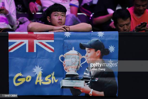 A fan looks on during the Women's Singles match between Ashleigh Barty of Australia and Petra Kvitova of the Czech Republic on Day Five of the 2019...