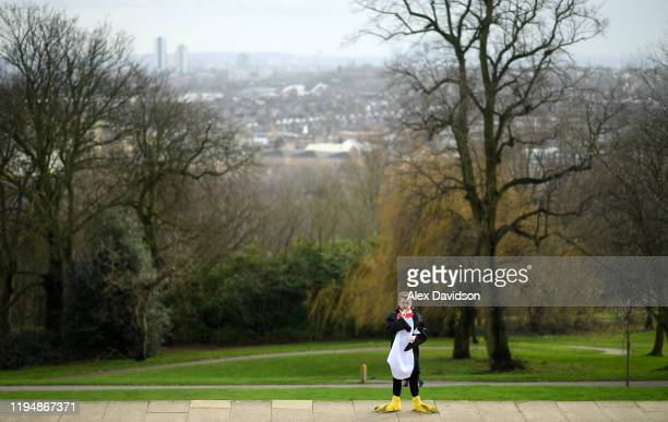 Fan looks on prior to Day 7 of the 2020 William Hill World Darts Championship at Alexandra Palace on December 19, 2019 in London, England.