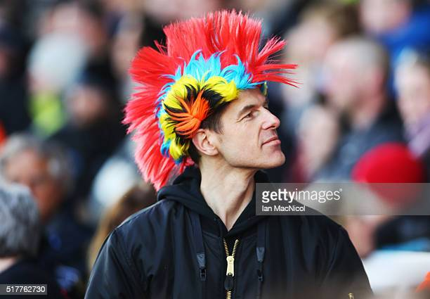 A fan looks on prior to the Aviva Premiership match between Newcastle Falcons and Wasps at Kingston Park on March 27 2016 in Newcastle England