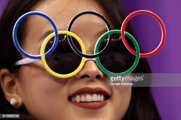A fan looks on wearing Olympic Rings glasses in the Figure Skating Team Event Men's Single Skating Short Program during the PyeongChang 2018 Winter...